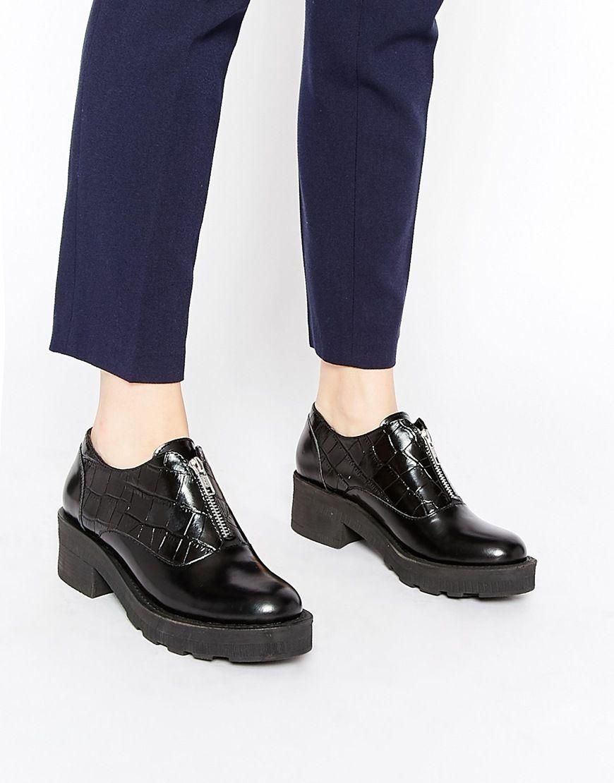 Park Lane Zip Front Leather Flat Shoes