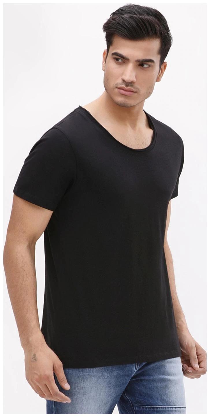 Pause Men Black Slim fit Cotton Scoop neck T-Shirt - Pack Of 1-8lR