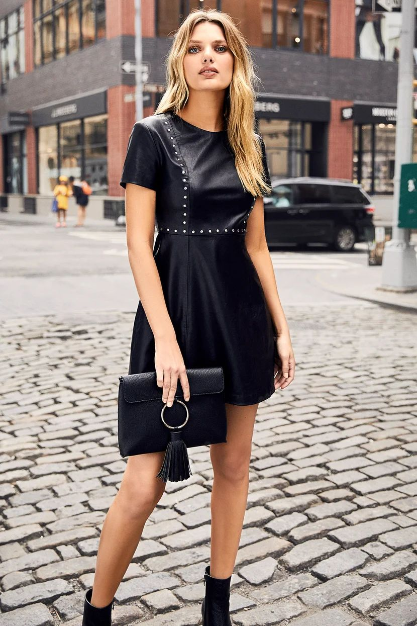 Perfect Leather Skater Dress