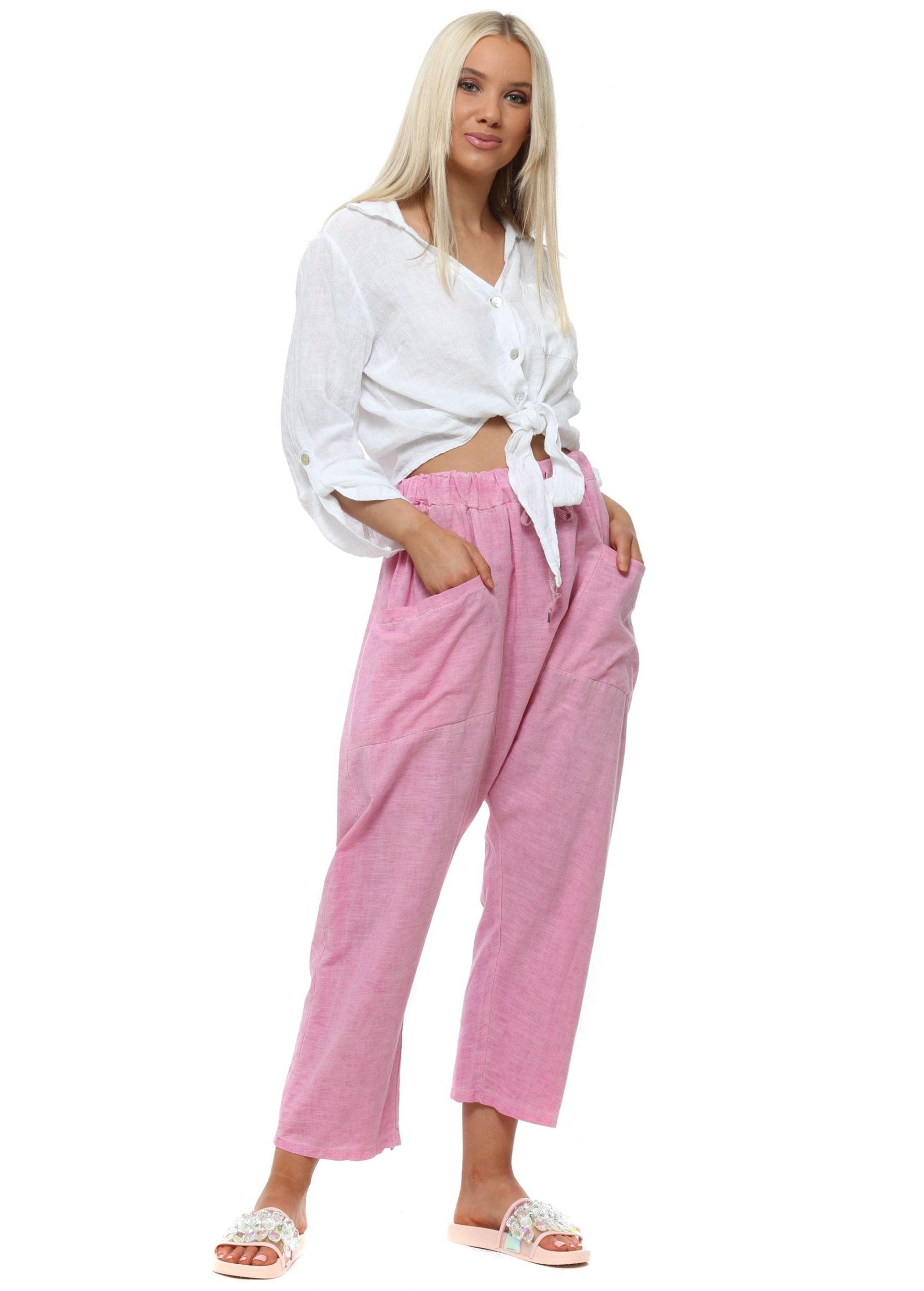 Pink Linen Drop Crotch Trousers