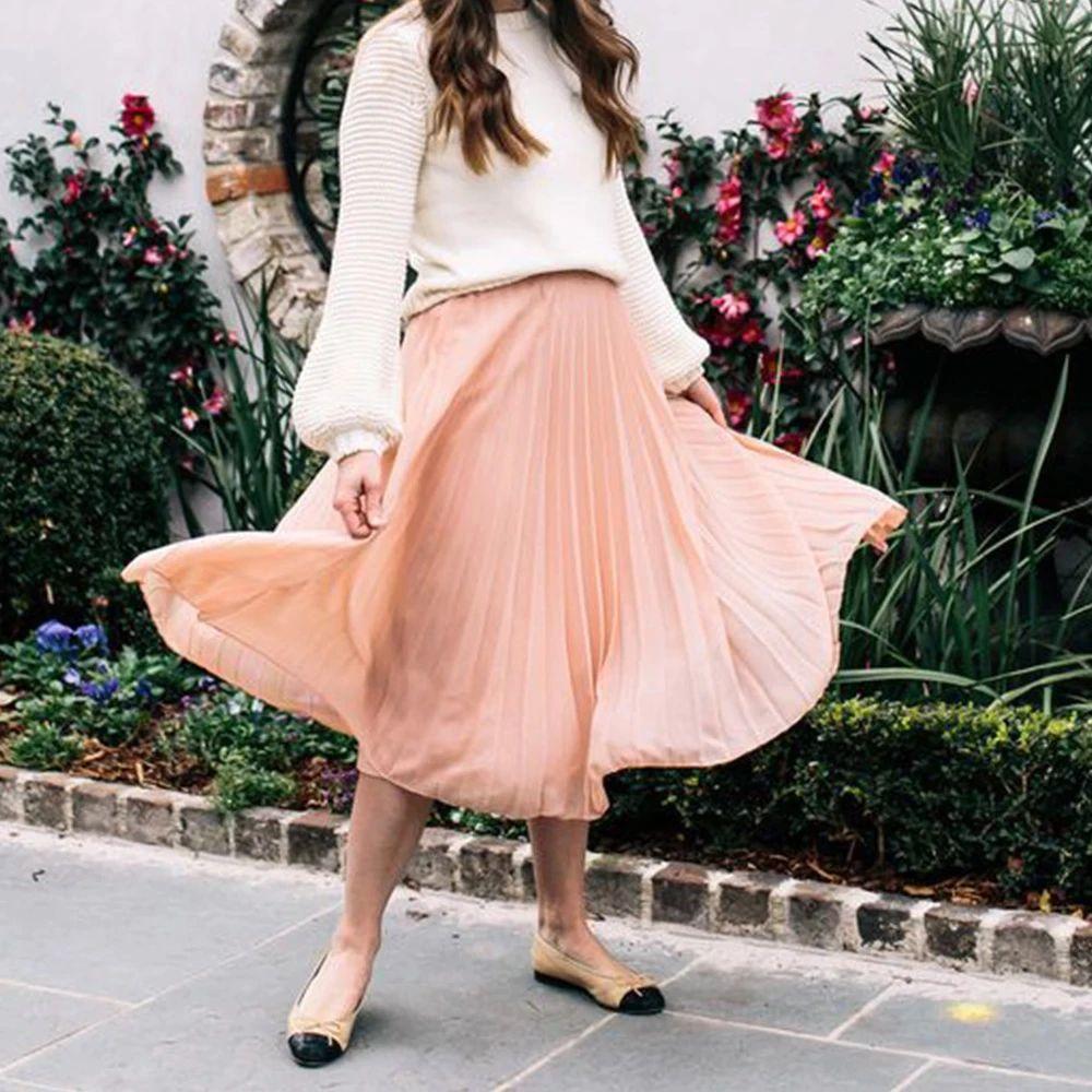 Pink Pleated Skirt Women 2020 Plus Size Atumn Elegant White High Waist Long Skirt Black Casual Ladies Chiffon Skirt Mujer Faldas