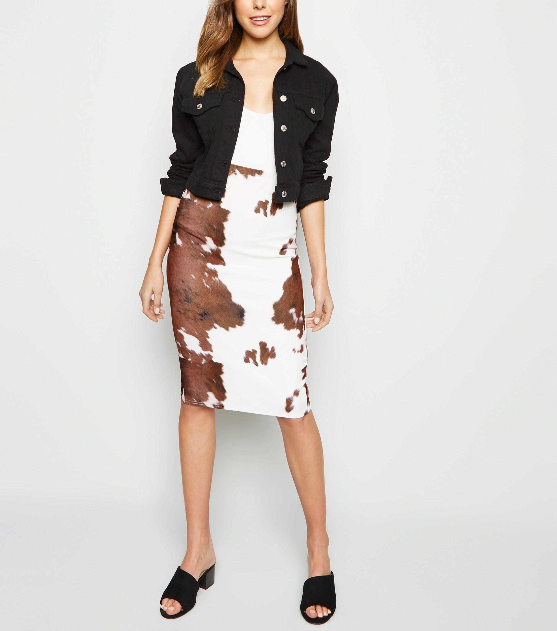 Pink Vanilla Brown Cow Print Midi Skirt