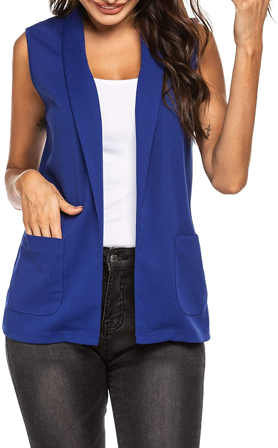Pinspark Women Open Front Work Office Vest Casual Sleeveless Blazer with Pockets