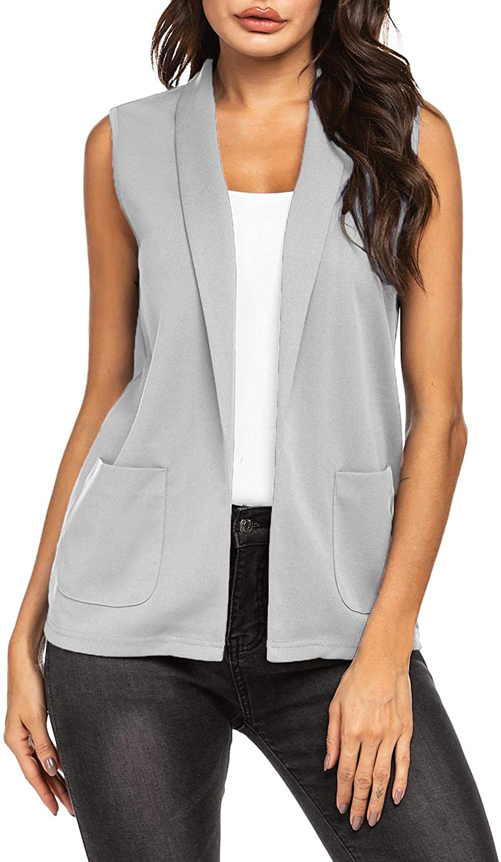 Pinspark Women Open Front Work Office Vest Casual Sleeveless Blazer