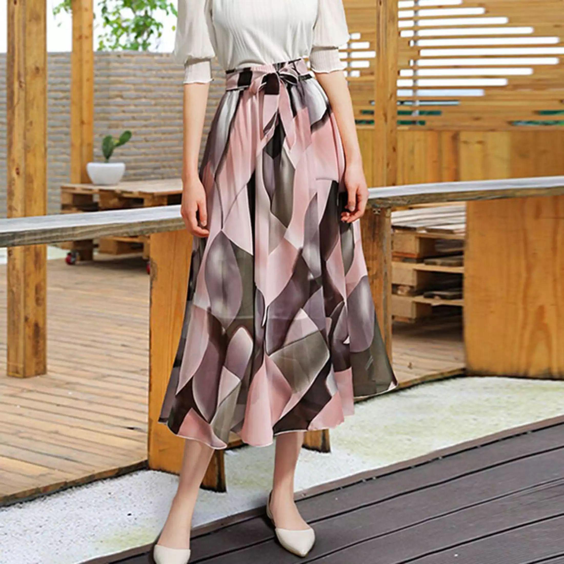 Plain Midi Skirt, Ankle Length, Women's, Soft, Stretchy, Flare, Print, Skater, Black, Korean Style, Women's