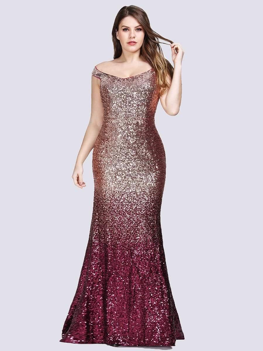 Plus Size Off Shoulder Sparkles Sequins Evening Gown