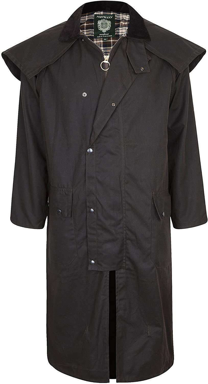 Portmann Stockman Unisex Premium Quality Lined Waxed Cape Long Rain Coat Hand Made in UK