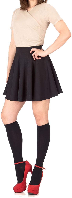 Pretty Fashion Women's Plain Skater Skirt Basic A-Line Stretchy Flared Mini Flowy Skirt