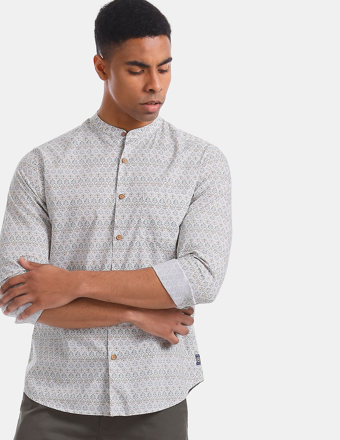 Printed Mandarin Collar Shirt For Mens Wear