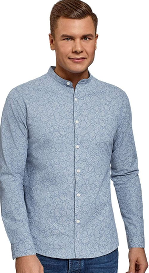 Printed Mandarin Collar Shirt For Mens