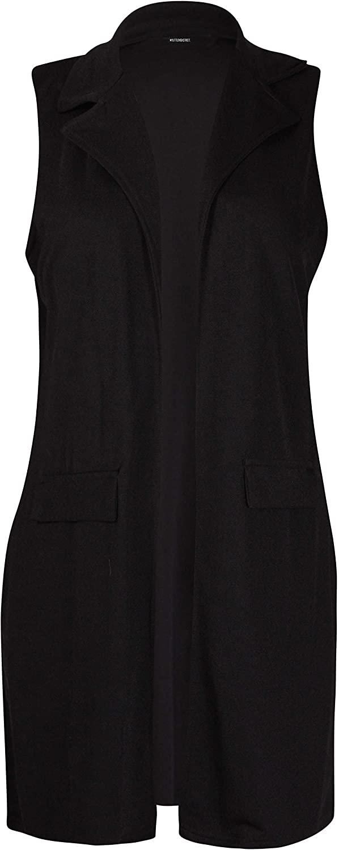 Purple Hanger Womens Plus Size Sleeveless Ladies Waterfall Pocket Collar Long Waistcoat Jacket Blazer