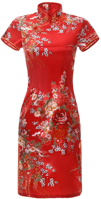 Qipao Black Chinese Lady Sexy Cheongsam Print Flower Mini Traditioanl Casual Dress for Women Mandarin Collar