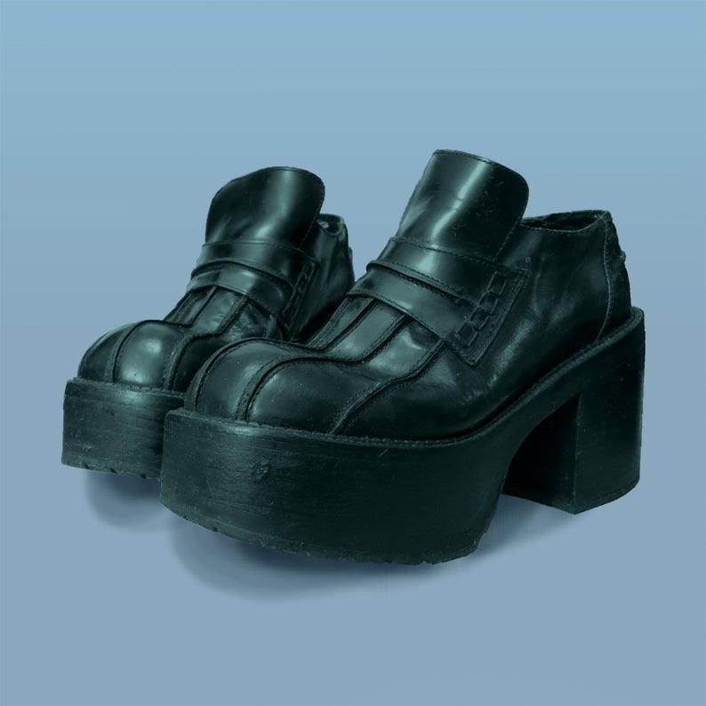 Rare 90s Platform Buffalo Loafers Black