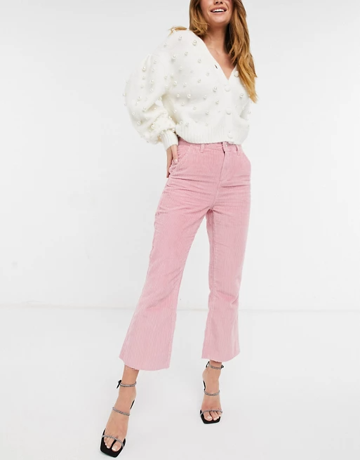 Reclaimed Vintage inspired the 85' crop kick flare in rose cord