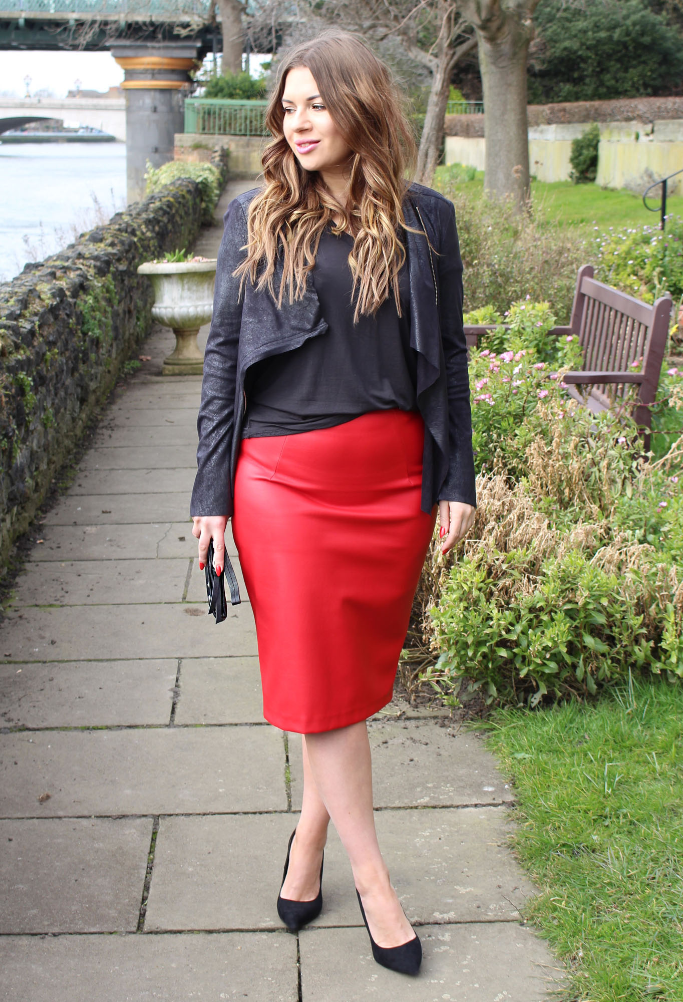 Red leather skirt