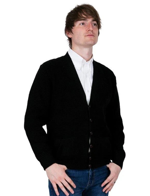 Relco Mens Black Waffle Knit Cardigan