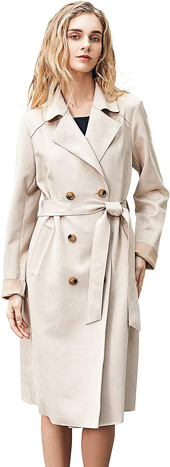 Relish Noless Women Faux Suede Trench Coat with Belt