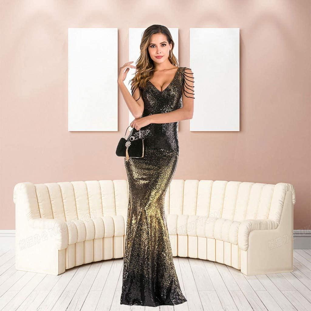 Women's V-Neck Sequin Dress