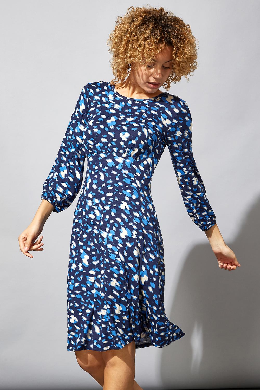 Royal Blue Animal Print Tea Dress