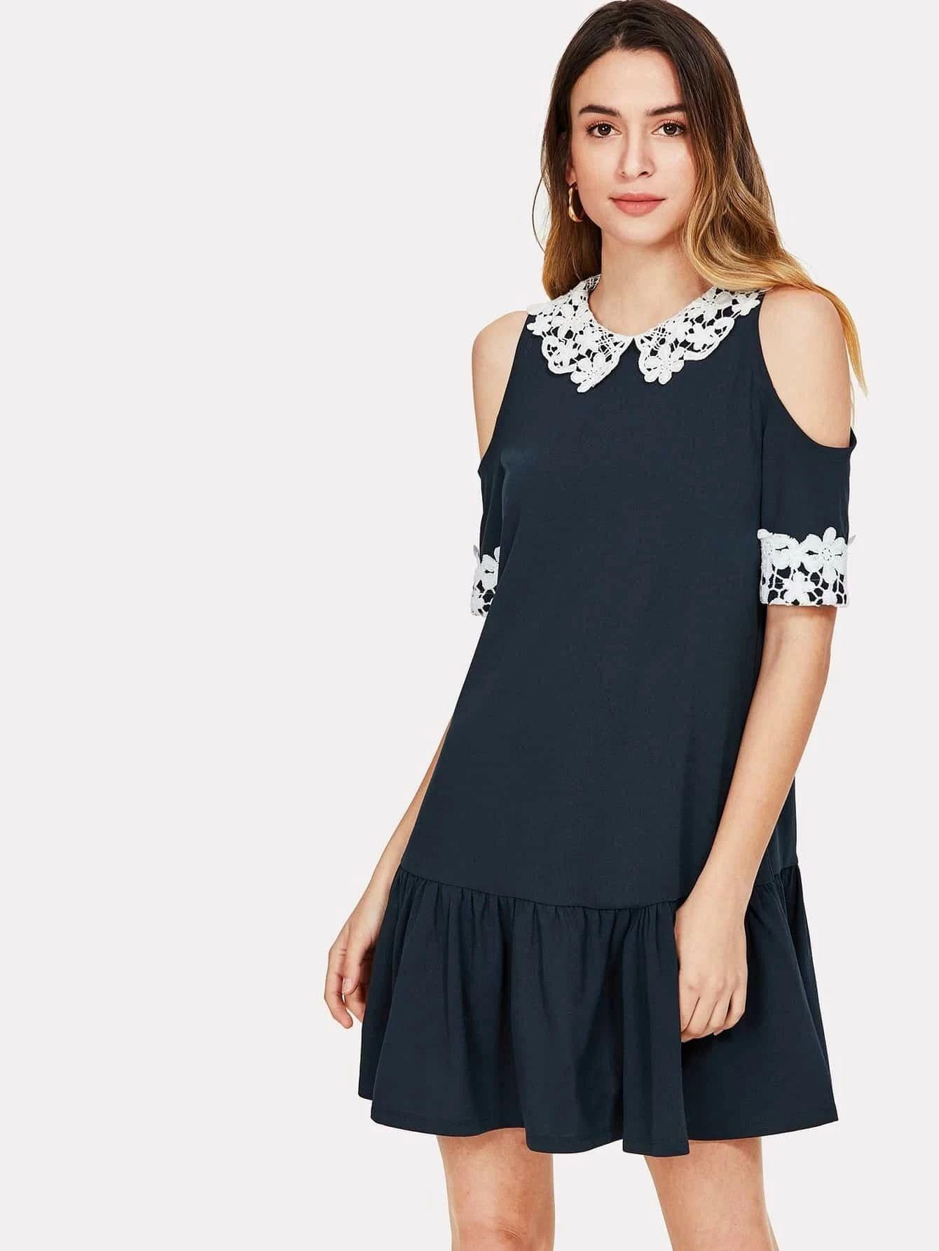SHEIN Lace Applique Cold Shoulder Drop Waist Dress