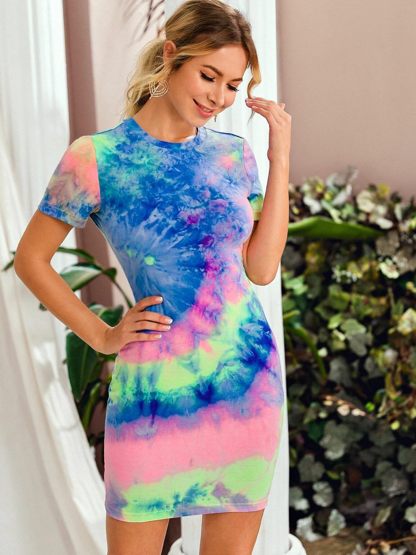 SHEIN Spiral Tie Dye Bodycon Dress