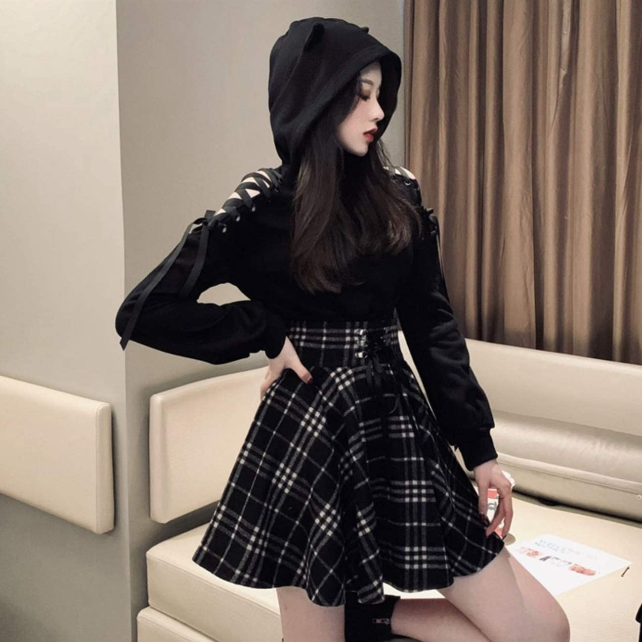SIPEIEN Women's Plaid A-line Skirt Gothic High Waist Pleated Flare Short Mini Skater Skirt