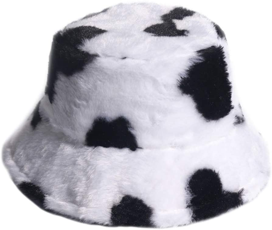 SOIMISS Furry Cow Bucket Hat Winter Autumn Cow Print Warm Cap Warmer Zebra Fisherman Cap Unisex Warm Sun Hat Women Men