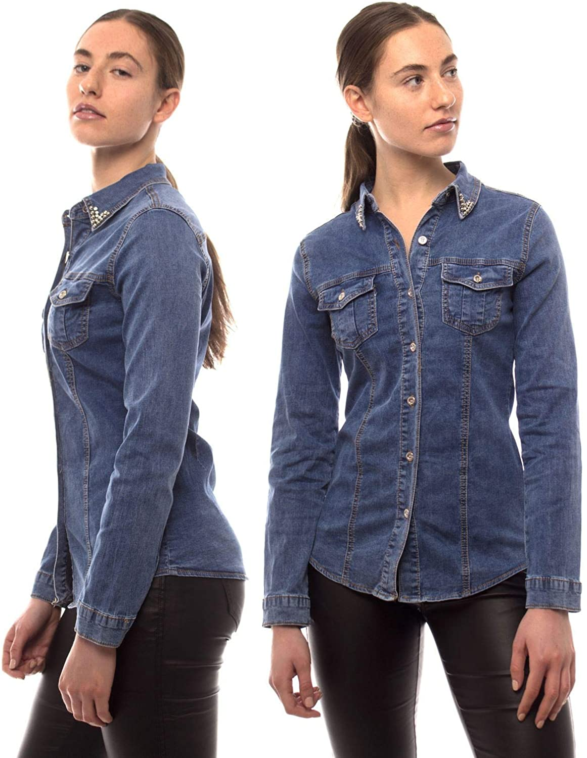 SS7 Womens Denim Shirt Top Fitted Stretch