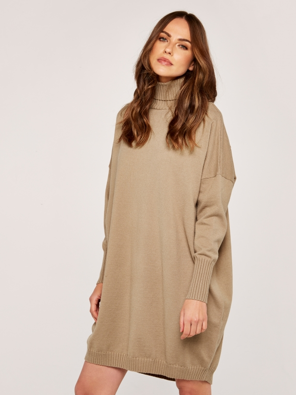 STONE FULL ROLL NECK COCOON JUMPER DRESS