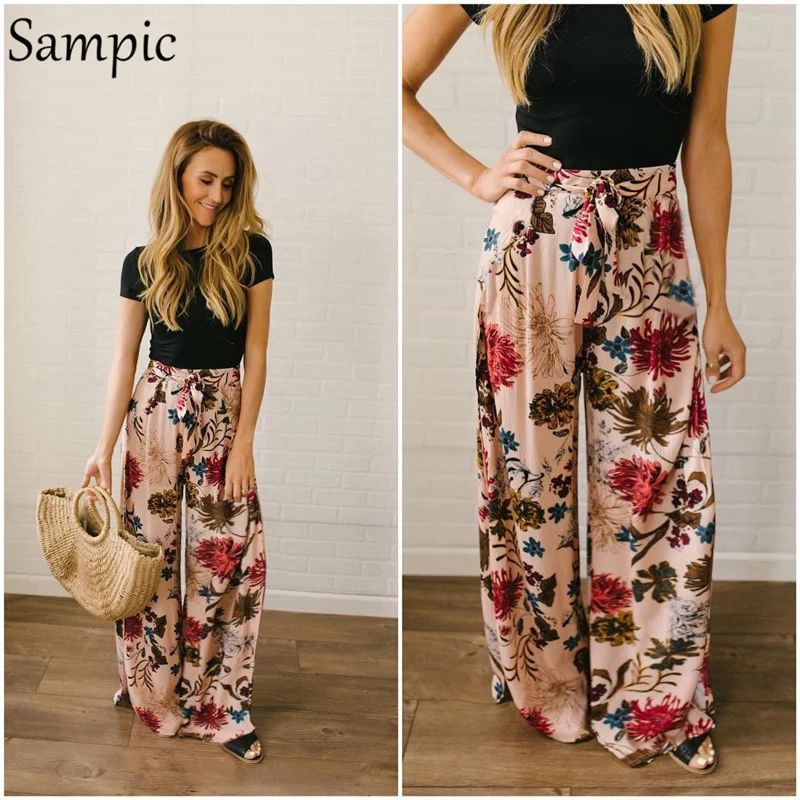 Sampic - High waist and flared leg pants, bohemian style, for women, long, wide and relaxed bottom for the beach, floral print, pink belts, summer