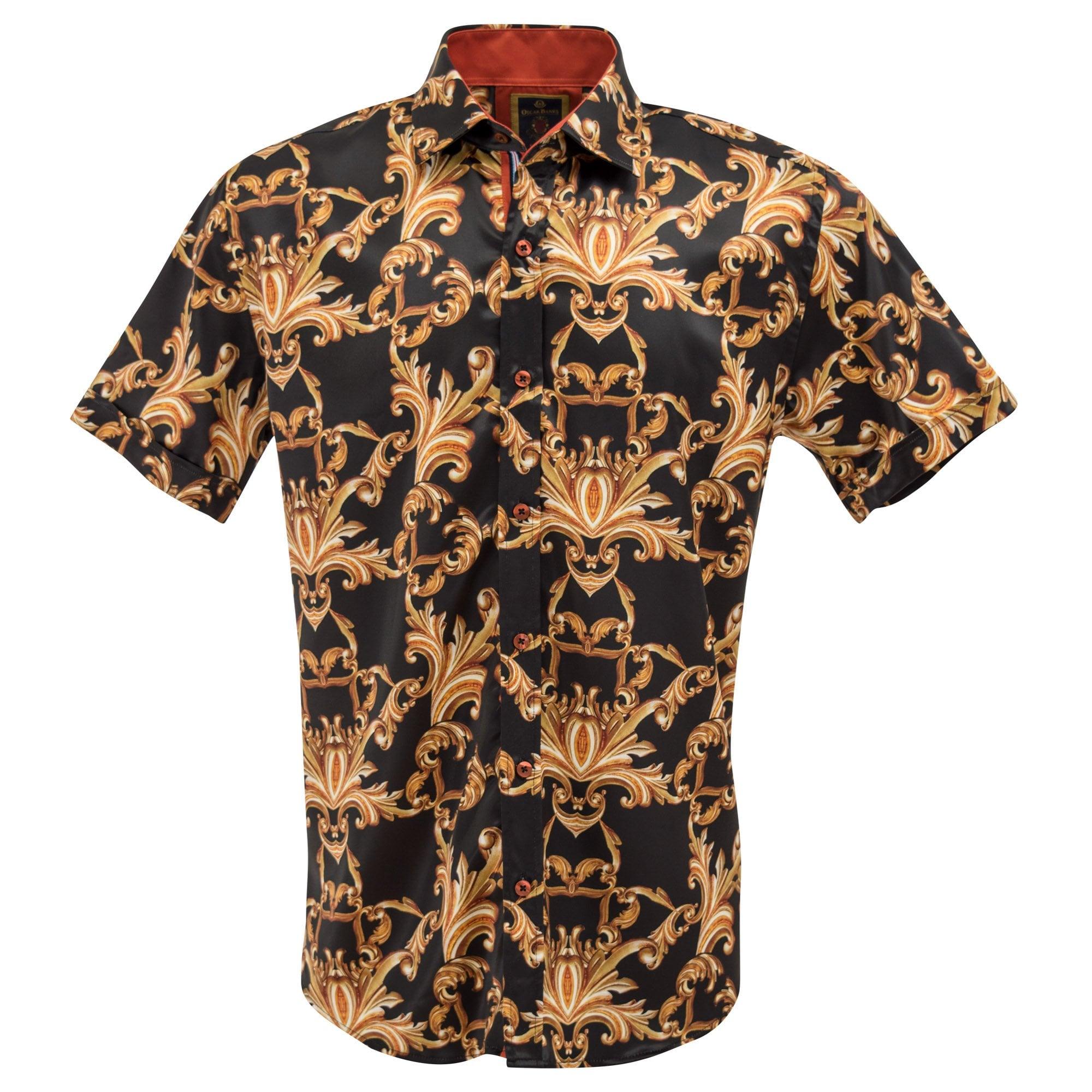 Satin Black and Gold Baroque Print Short Sleeve Mens Shirt