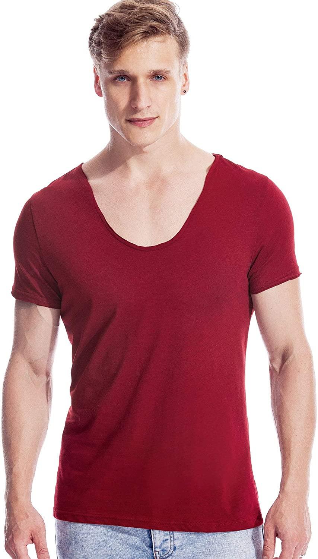 Scoop Neck Tee for Men Deep V Neck T Shirts Short Sleeve Cotton Basic Wide Neck