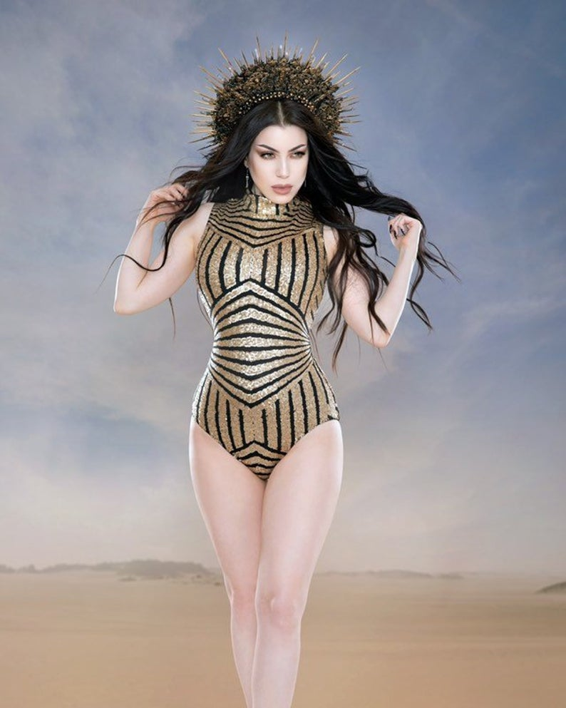 Sequin geometric lycra body suit