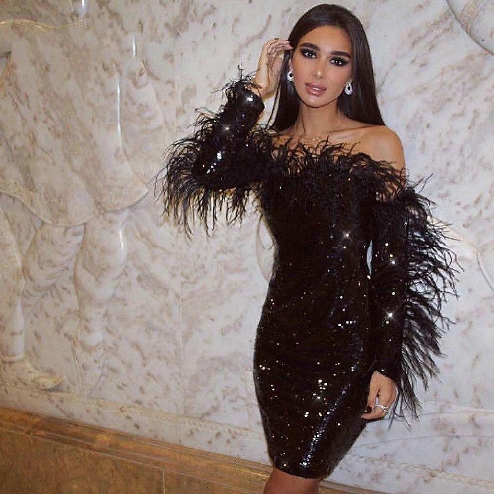 Sexy Black Sequin Dress 2020 Long Sleeves Cocktail Dresses