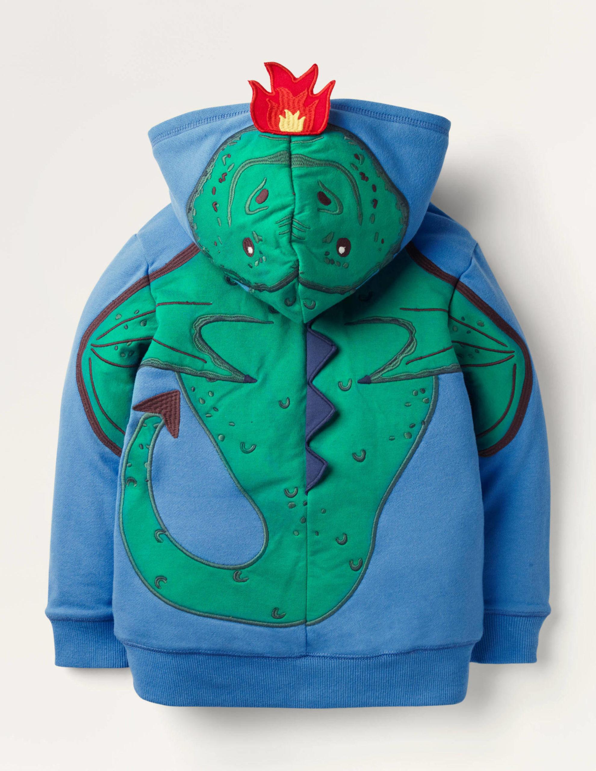 Shaggy-Lined Appliqué Hoodie - Elizabethan Blue Dragon