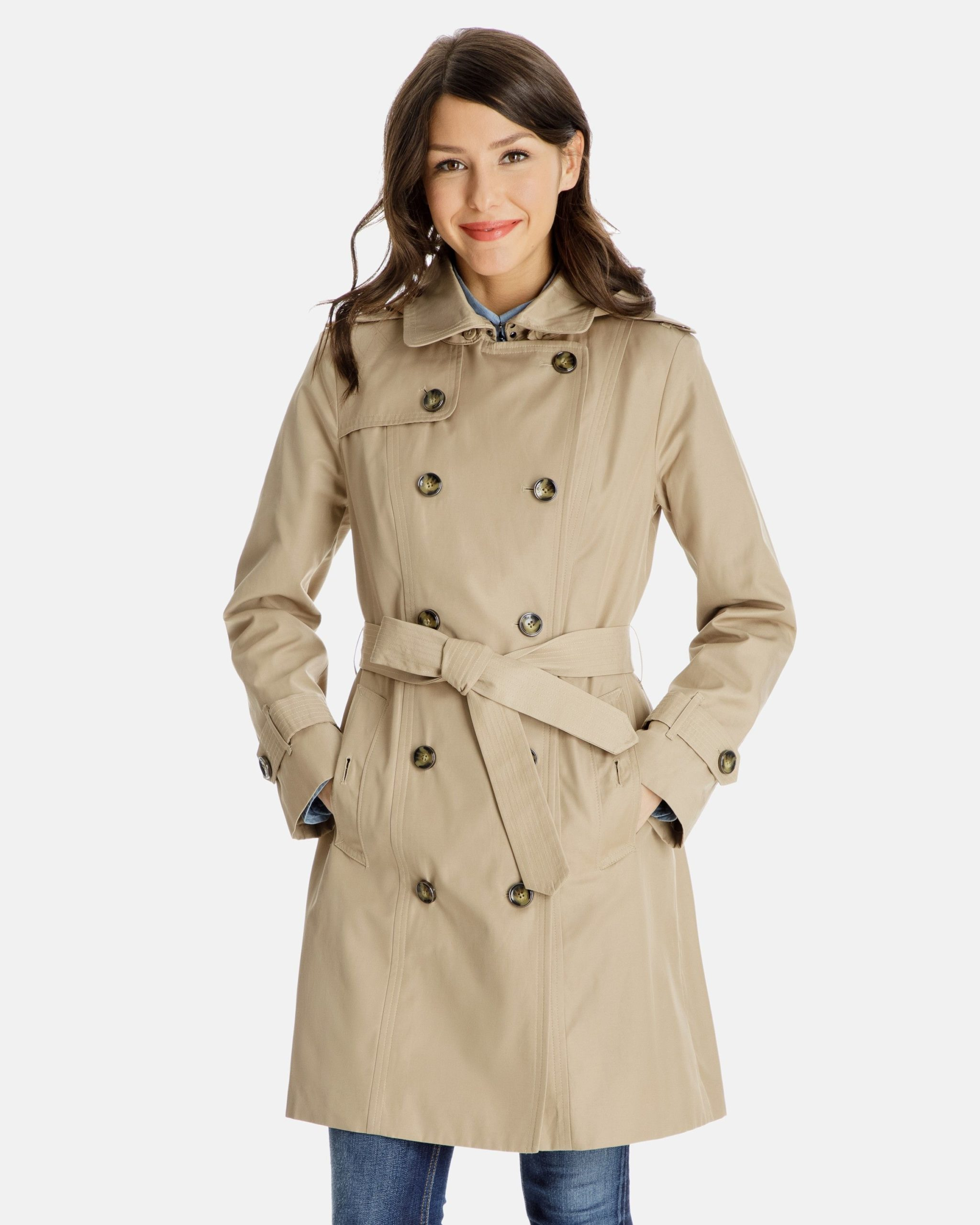 Shawna Women Trench Coat with Detachable Hood