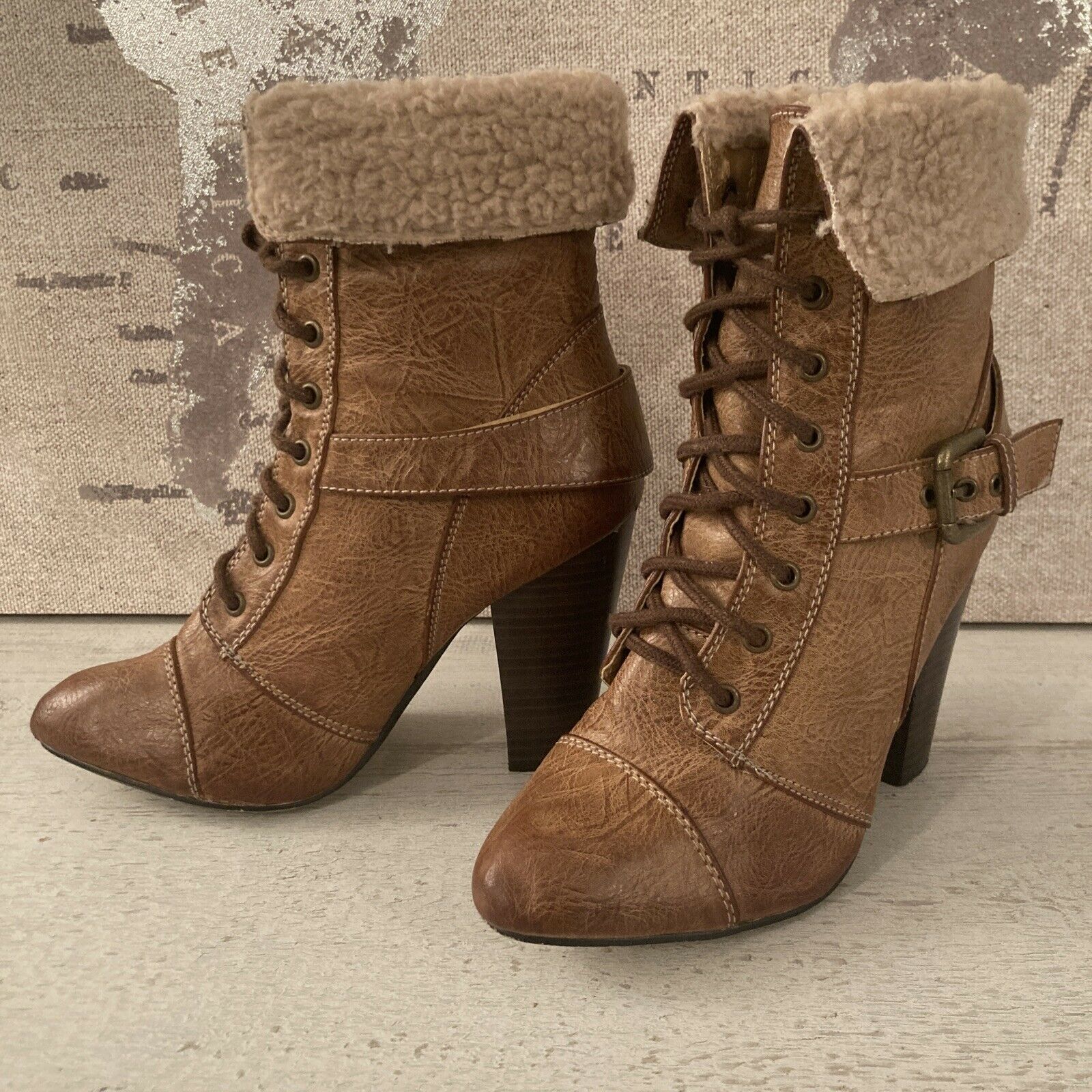 Shearling Heeled Boots