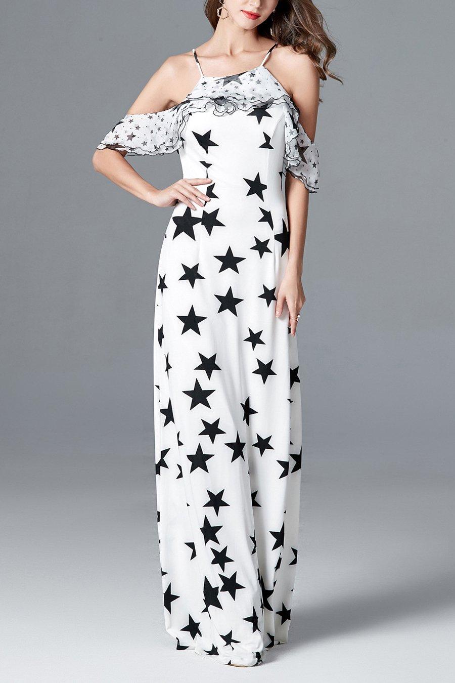 Sheath Boho Star Printed Long Party Formal Dress
