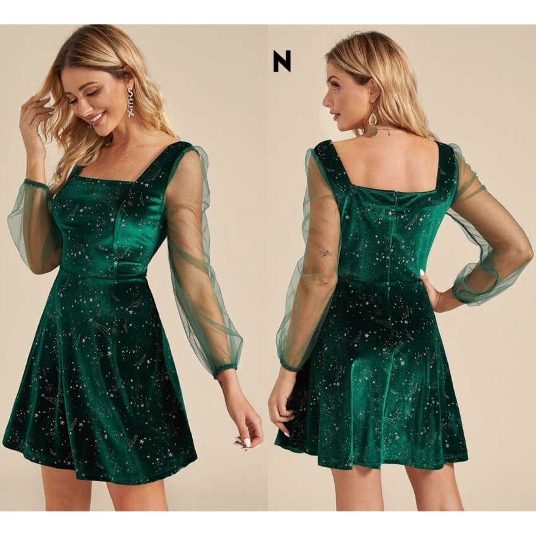 Shein Flared square neck cocktail star printed party dress