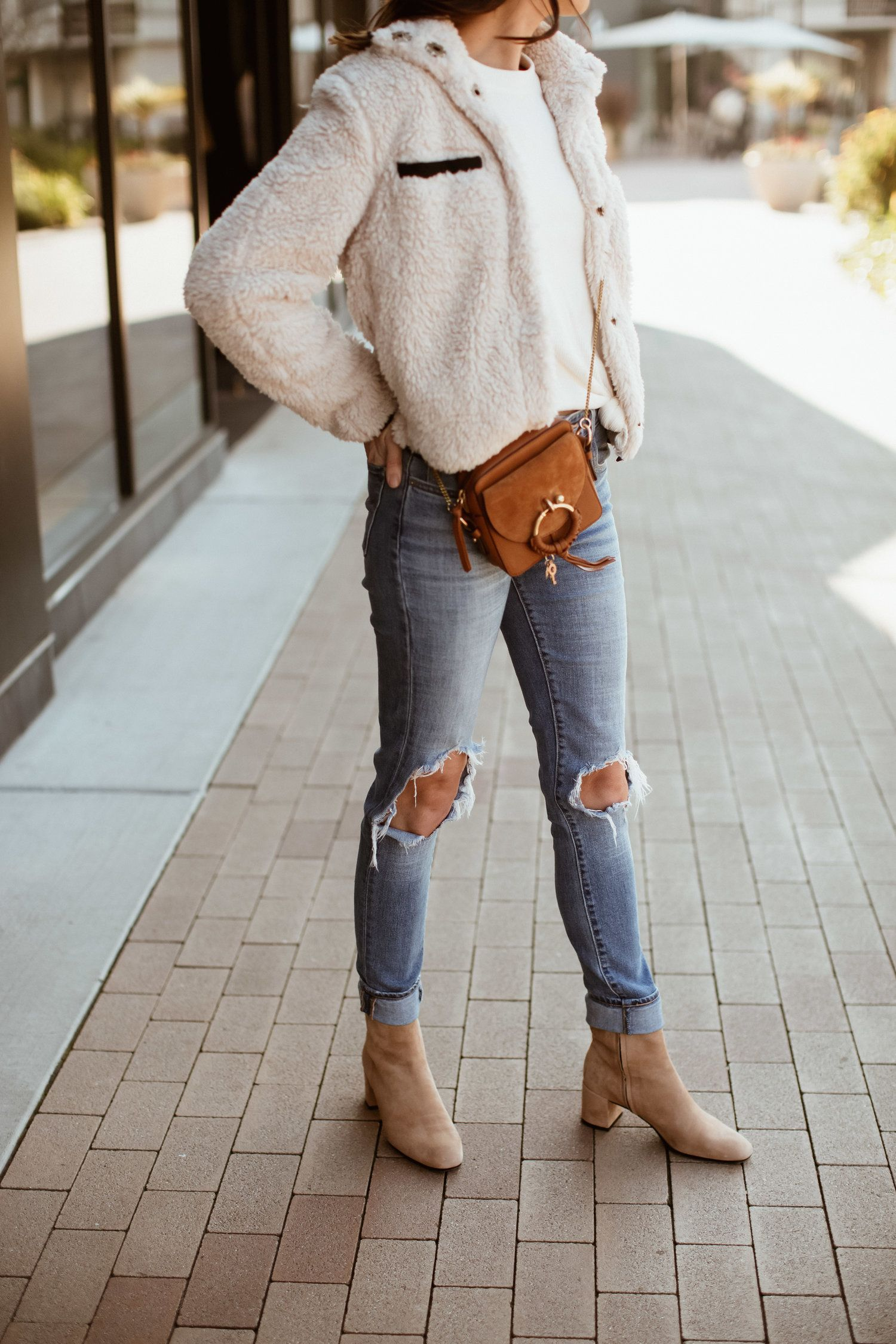 Sherpa, Shearling, and Faux Fur Slouchy Jeans