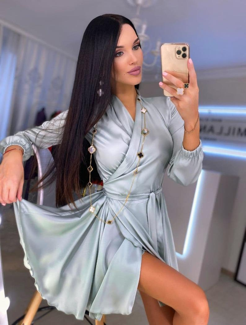 Silk Wrap Mini Dress, Silk Mini Dress with Bracelet Sleeves, Pink Silk Dress for Special Occasions, Romantic Dates, Wedding Guest Dress