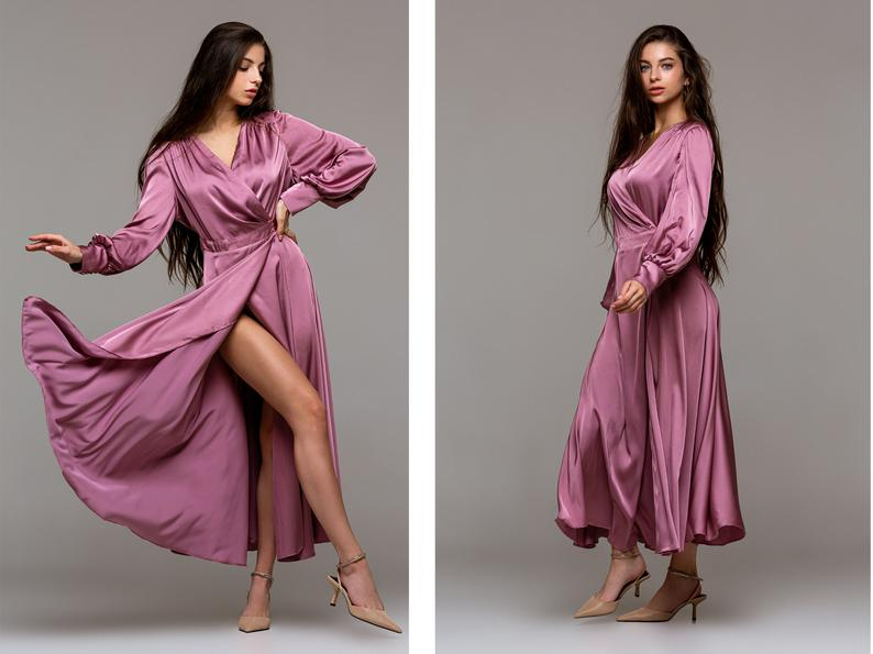Silk wrap dress long sleeve - Custom made cocktail dress for wedding guest - Made to measure wedding guest dress petite to plus size