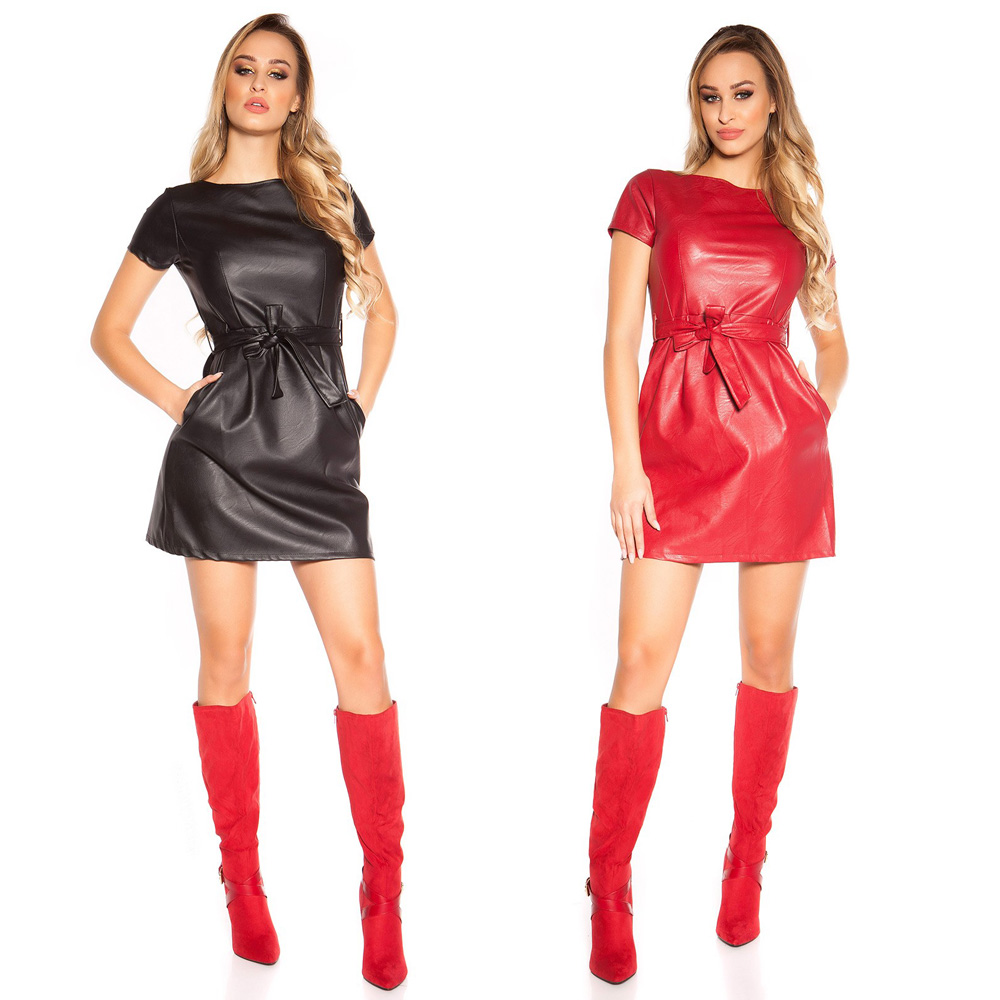 Skater Mini Dress Faux Leather Look Belted Short Sleeves KouCla - Black & Red