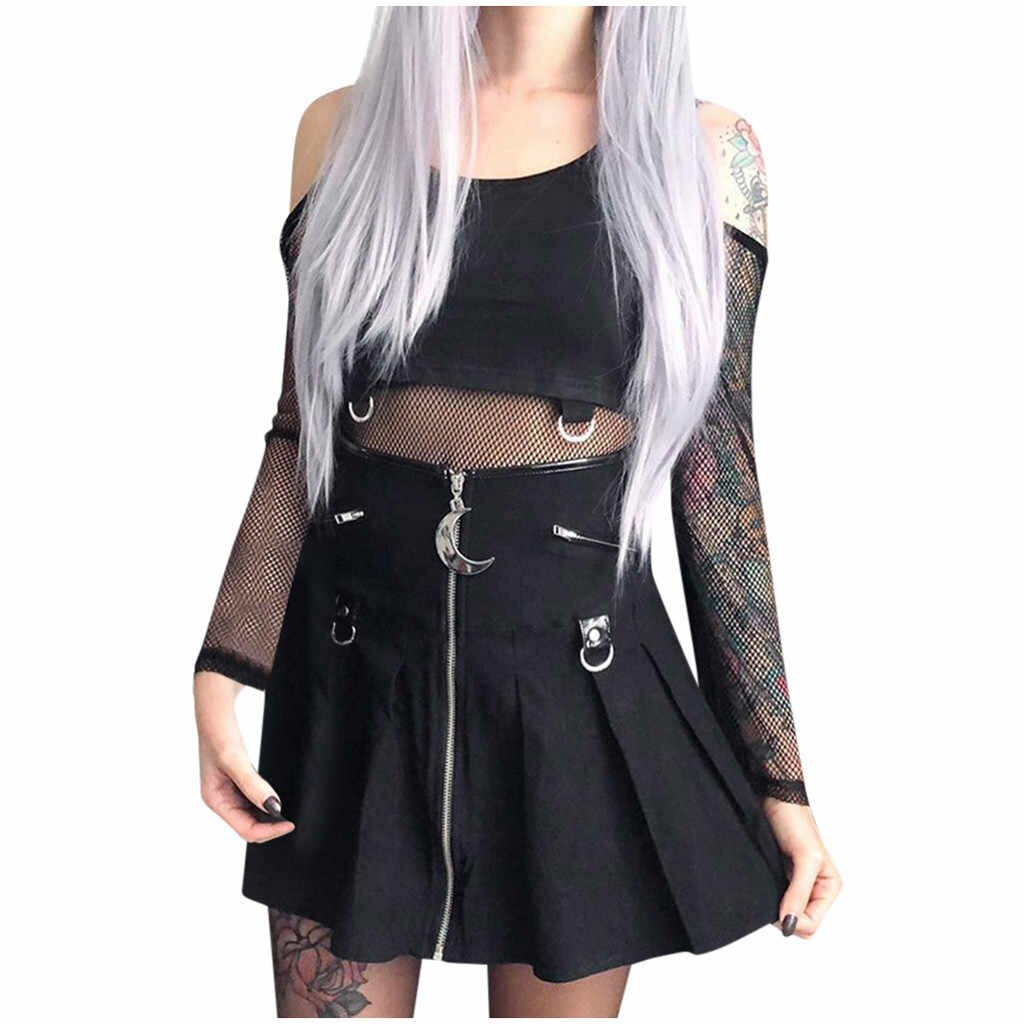 Skirts Women Spring 's Fashionable Gothic Little Black Crescent Hanging Pleated Skirt