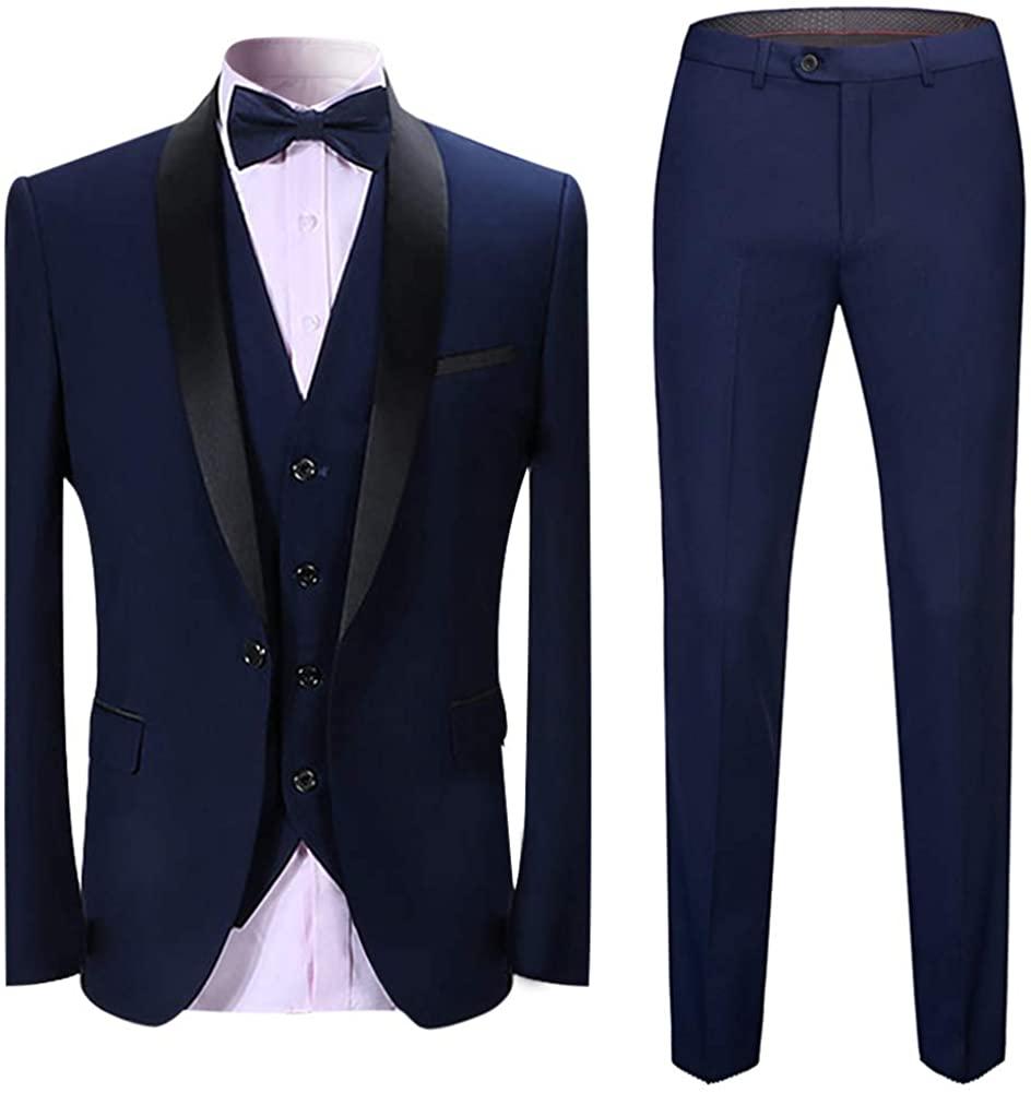 Sliktaa Mens Tuxedo Suits 3 Pieces Dinner Suit