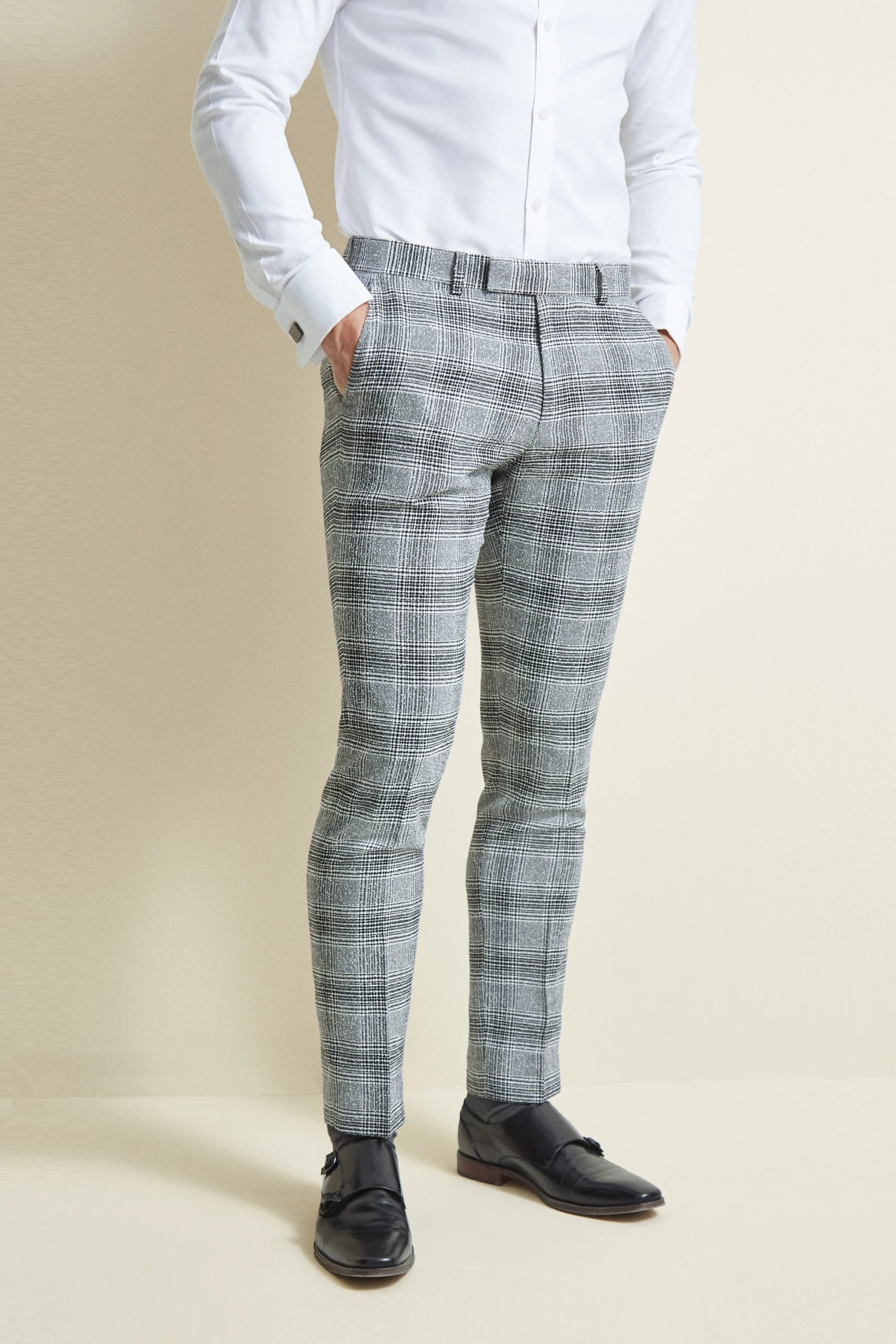 Slim Fit Black & White Check Trousers