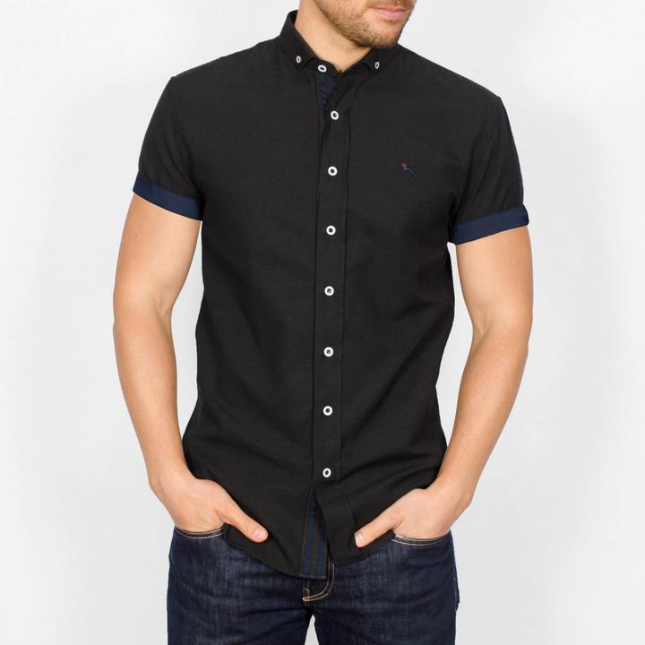Slim Fit Oxford Short Sleeve Shirt - GALANDB - Black