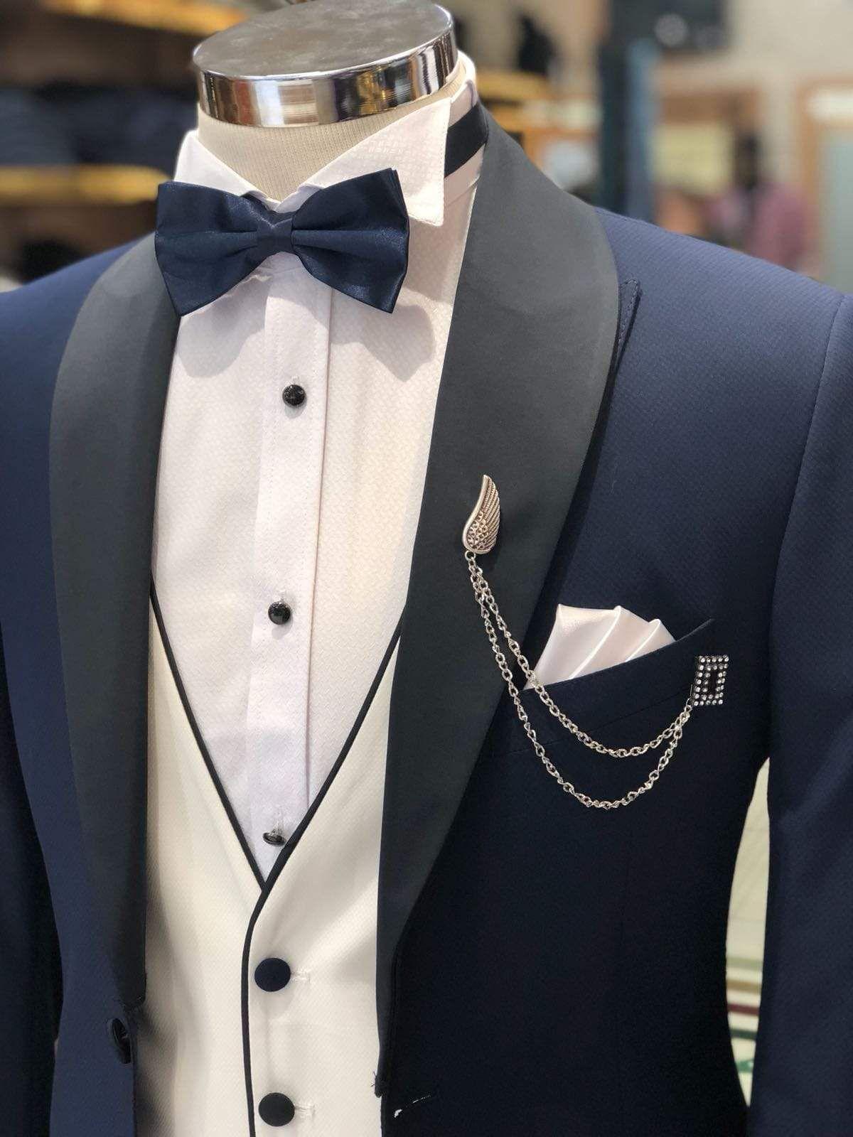 Slim-Fit Tuxedo Suit Navy-Blue