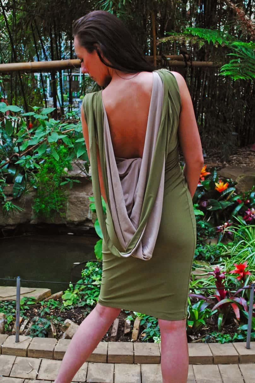 Soft Contrast Cowl Back MIDI Dress