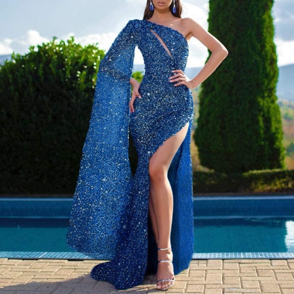 Solid Color Long Sleeve One Shoulder Sling Sequin Long Full Dress